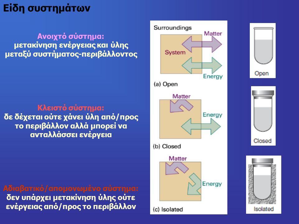 Ανοιχτό σύστημα: μετακίνηση ενέργειας και ύλης μεταξύ συστήματος-περιβάλλοντος Κλειστό σύστημα: δε δέχεται ούτε χάνει ύλη από/προς το περιβάλλον αλλά μπορεί να ανταλλάσσει ενέργεια Αδιαβατικό/απομονωμένο σύστημα: δεν υπάρχει μετακίνηση ύλης ούτε ενέργειας από/προς το περιβάλλον Είδη συστημάτων