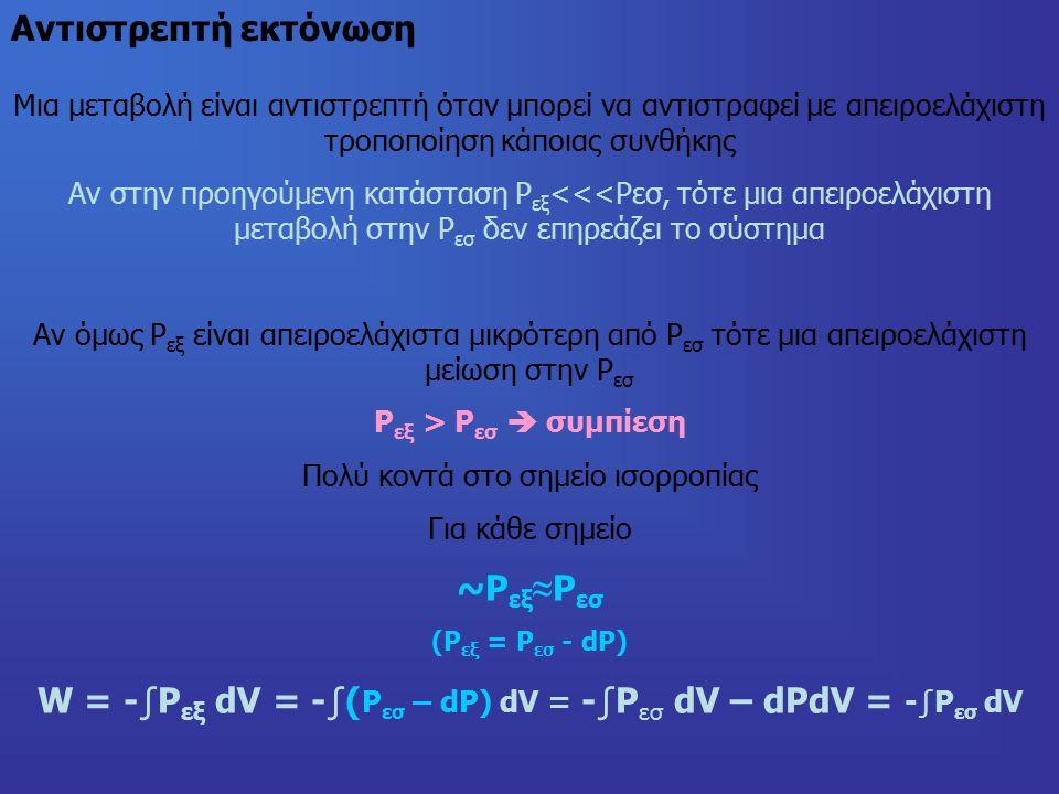 Αντιστρεπτή εκτόνωση Μια μεταβολή είναι αντιστρεπτή όταν μπορεί να αντιστραφεί με απειροελάχιστη τροποποίηση κάποιας συνθήκης Αν στην προηγούμενη κατάσταση Ρ εξ <<<Ρεσ, τότε μια απειροελάχιστη μεταβολή στην Ρ εσ δεν επηρεάζει το σύστημα Αν όμως Ρ εξ είναι απειροελάχιστα μικρότερη από Ρ εσ τότε μια απειροελάχιστη μείωση στην Ρ εσ Ρ εξ > Ρ εσ  συμπίεση Πολύ κοντά στο σημείο ισορροπίας Για κάθε σημείο ~Ρ εξ ≈ Ρ εσ (Ρ εξ = Ρ εσ - dP) W = -∫P εξ dV = -∫( Ρ εσ – dP) dV = -∫P εσ dV – dPdV = -∫P εσ dV