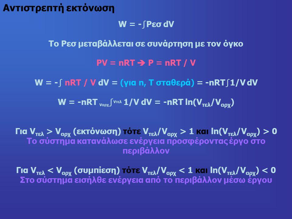 W = -∫Pεσ dV Το Ρεσ μεταβάλλεται σε συνάρτηση με τον όγκο PV = nRT  P = nRT / V W = -∫ nRT / V dV = (για n, T σταθερά) = -nRT∫1/V dV W = -nRT Vαρχ ∫ Vτελ 1/V dV = -nRT ln(V τελ /V αρχ ) Για V τελ > V αρχ (εκτόνωση) τότε V τελ /V αρχ > 1 και ln(V τελ /V αρχ ) > 0 Το σύστημα κατανάλωσε ενέργεια προσφέροντας έργο στο περιβάλλον Για V τελ < V αρχ (συμπίεση) τότε V τελ /V αρχ < 1 και ln(V τελ /V αρχ ) < 0 Στο σύστημα εισήλθε ενέργεια από το περιβάλλον μέσω έργου