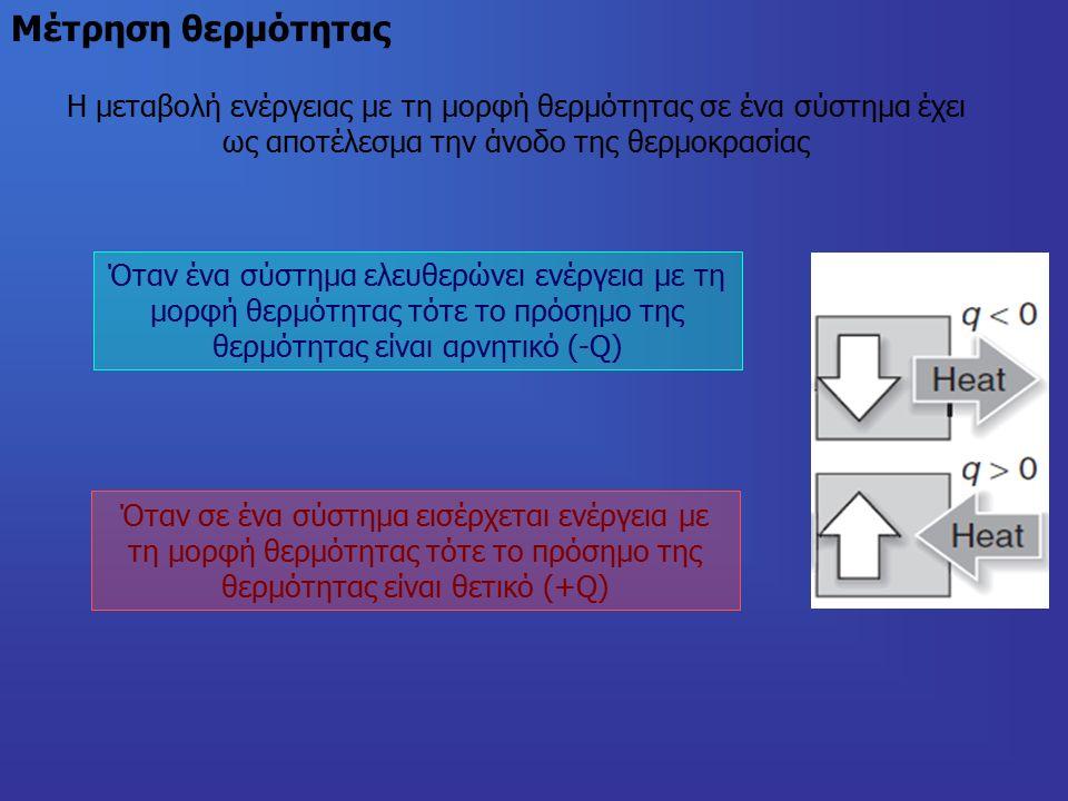 Μέτρηση θερμότητας Όταν ένα σύστημα ελευθερώνει ενέργεια με τη μορφή θερμότητας τότε το πρόσημο της θερμότητας είναι αρνητικό (-Q) Όταν σε ένα σύστημα εισέρχεται ενέργεια με τη μορφή θερμότητας τότε το πρόσημο της θερμότητας είναι θετικό (+Q) Η μεταβολή ενέργειας με τη μορφή θερμότητας σε ένα σύστημα έχει ως αποτέλεσμα την άνοδο της θερμοκρασίας