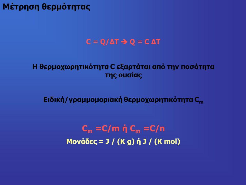 Μέτρηση θερμότητας C = Q/ΔΤ  Q = C ΔΤ Η θερμοχωρητικότητα C εξαρτάται από την ποσότητα της ουσίας Ειδική/γραμμομοριακή θερμοχωρητικότητα C m C m =C/m ή C m =C/n Μονάδες = J / (K g) ή J / (K mol)