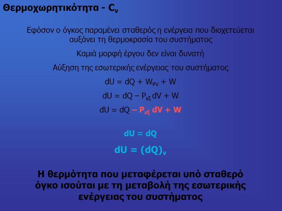 Θερμοχωρητικότητα - C v Εφόσον ο όγκος παραμένει σταθερός η ενέργεια που διοχετεύεται αυξάνει τη θερμοκρασία του συστήματος Καμιά μορφή έργου δεν είναι δυνατή Αύξηση της εσωτερικής ενέργειας του συστήματος dU = dQ + W PV + W dU = dQ – P εξ dV + W dU = dQ dU = (dQ) v Η θερμότητα που μεταφέρεται υπό σταθερό όγκο ισούται με τη μεταβολή της εσωτερικής ενέργειας του συστήματος
