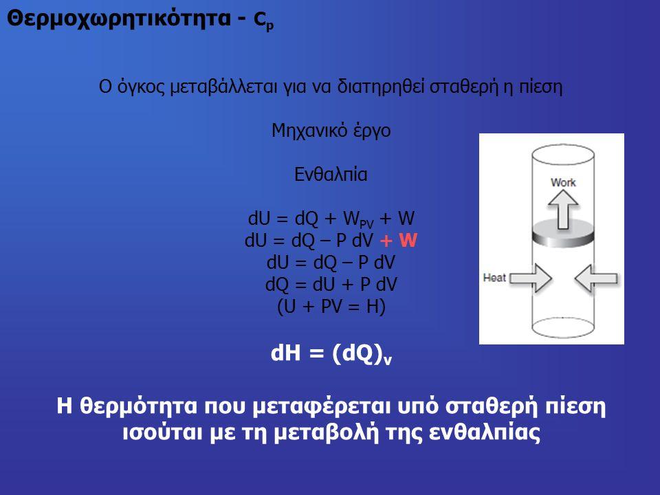 Θερμοχωρητικότητα - C p Ο όγκος μεταβάλλεται για να διατηρηθεί σταθερή η πίεση Μηχανικό έργο Ενθαλπία dU = dQ + W PV + W dU = dQ – P dV + W dU = dQ – P dV dQ = dU + P dV (U + PV = H) dH = (dQ) v Η θερμότητα που μεταφέρεται υπό σταθερή πίεση ισούται με τη μεταβολή της ενθαλπίας