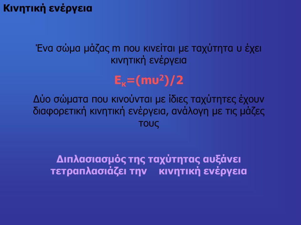 Κινητική ενέργεια Ένα σώμα μάζας m που κινείται με ταχύτητα υ έχει κινητική ενέργεια Ε κ =(mυ 2 )/2 Δύο σώματα που κινούνται με ίδιες ταχύτητες έχουν διαφορετική κινητική ενέργεια, ανάλογη με τις μάζες τους Διπλασιασμός της ταχύτητας αυξάνει τετραπλασιάζει την κινητική ενέργεια