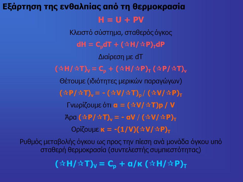 Εξάρτηση της ενθαλπίας από τη θερμοκρασία H = U + PV Κλειστό σύστημα, σταθερός όγκος dH = C p dT + (  H/  P) T dP Διαίρεση με dΤ (  H/  T) V = C p + (  H/  P) T (  P/  T) v Θέτουμε (ιδιότητες μερικών παραγώγων) (  P/  T) v = - (  V/  T) p / (  V/  P) T Γνωρίζουμε ότι α = (  V/  T)p / V Άρα (  P/  T) v = - αV / (  V/  P) T Ορίζουμε κ = -(1/V)(  V/  P) T Ρυθμός μεταβολής όγκου ως προς την πίεση ανά μονάδα όγκου υπό σταθερή θερμοκρασία (συντελεστής συμπιεστότητας) (  H/  T) V = C p + α/κ (  H/  P) T