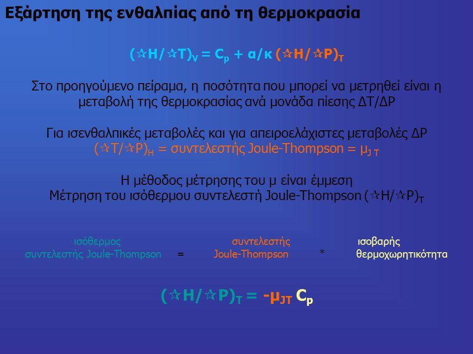 Εξάρτηση της ενθαλπίας από τη θερμοκρασία (  H/  T) V = C p + α/κ (  H/  P) T Στο προηγούμενο πείραμα, η ποσότητα που μπορεί να μετρηθεί είναι η μεταβολή της θερμοκρασίας ανά μονάδα πίεσης ΔΤ/ΔP Για ισενθαλπικές μεταβολές και για απειροελάχιστες μεταβολές ΔP (  Τ/  P) H = συντελεστής Joule-Thompson = μ J T Η μέθοδος μέτρησης του μ είναι έμμεση Μέτρηση του ισόθερμου συντελεστή Joule-Thompson (  H/  P) T ισόθερμος συντελεστής ισοβαρής συντελεστής Joule-Thompson = Joule-Thompson * θερμοχωρητικότητα (  H/  P) T = -μ JT C p