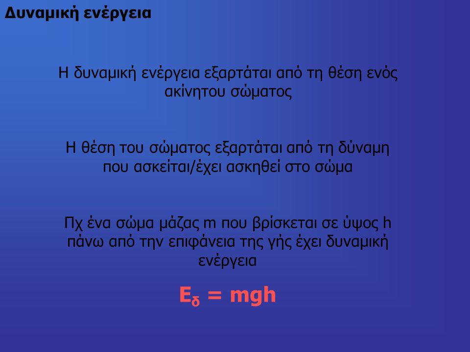 Δυναμική ενέργεια Η δυναμική ενέργεια εξαρτάται από τη θέση ενός ακίνητου σώματος H θέση του σώματος εξαρτάται από τη δύναμη που ασκείται/έχει ασκηθεί στο σώμα Πχ ένα σώμα μάζας m που βρίσκεται σε ύψος h πάνω από την επιφάνεια της γής έχει δυναμική ενέργεια Ε δ = mgh
