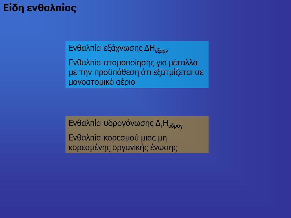 Ενθαλπία εξάχνωσης ΔΗ εξαχν Ενθαλπία ατομοποίησης για μέταλλα με την προϋπόθεση ότι εξατμίζεται σε μονοατομικό αέριο Ενθαλπία υδρογόνωσης Δ r Η υδρογ Ενθαλπία κορεσμού μιας μη κορεσμένης οργανικής ένωσης Είδη ενθαλπίας