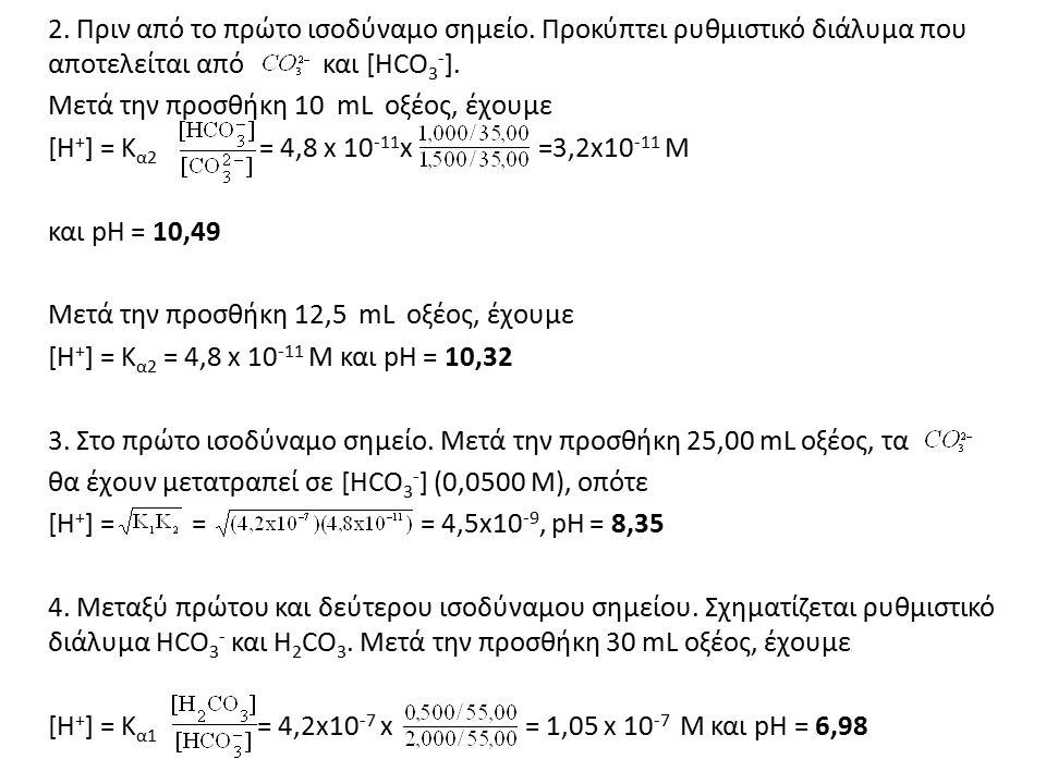 2. Πριν από το πρώτο ισοδύναμο σημείο. Προκύπτει ρυθμιστικό διάλυμα που αποτελείται από και [HCO 3 - ]. Μετά την προσθήκη 10 mL οξέος, έχουμε [Η + ] =