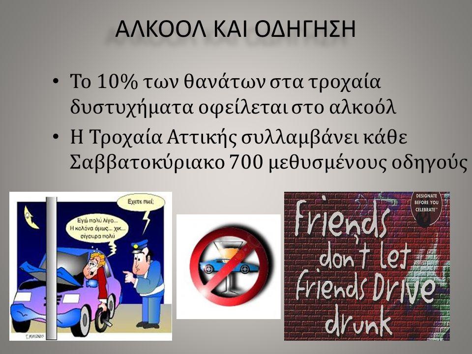 ΑΛΚΟΟΛ ΚΑΙ ΟΔΗΓΗΣΗ Το 10% των θανάτων στα τροχαία δυστυχήματα οφείλεται στο αλκοόλ Η Τροχαία Αττικής συλλαμβάνει κάθε Σαββατοκύριακο 700 μεθυσμένους οδηγούς