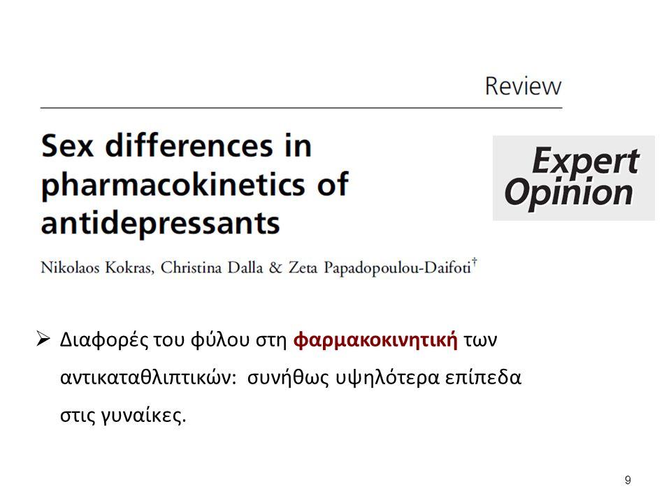  Διαφορές του φύλου στη φαρμακοκινητική των αντικαταθλιπτικών: συνήθως υψηλότερα επίπεδα στις γυναίκες.