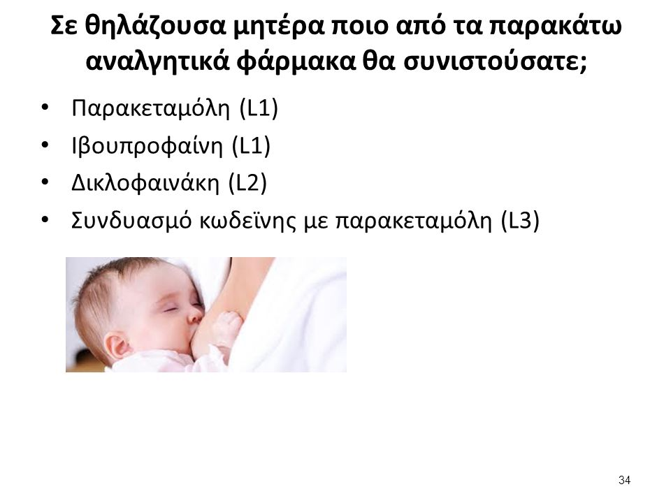 Σε θηλάζουσα μητέρα ποιο από τα παρακάτω αναλγητικά φάρμακα θα συνιστούσατε; Παρακεταμόλη (L1) Ιβουπροφαίνη (L1) Δικλοφαινάκη (L2) Συνδυασμό κωδεϊνης με παρακεταμόλη (L3) 34