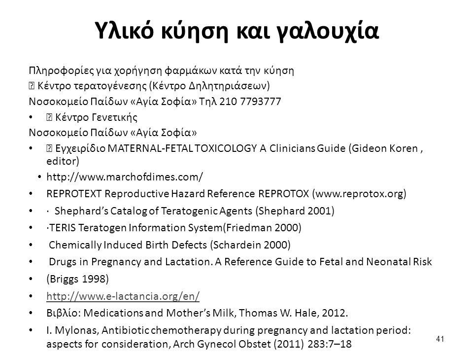 Υλικό κύηση και γαλουχία Πληροφορίες για χορήγηση φαρμάκων κατά την κύηση ▶ Κέντρο τερατογένεσης (Κέντρο Δηλητηριάσεων) Νοσοκομείο Παίδων «Αγία Σοφία» Τηλ 210 7793777 ▶ Κέντρο Γενετικής Νοσοκομείο Παίδων «Αγία Σοφία» ▶ Εγχειρίδιο MATERNAL-FETAL TΟXICOLOGY A Clinicians Guide (Gideon Koren, editor) http://www.marchofdimes.com/ REPROTEXT Reproductive Hazard Reference REPROTOX (www.reprotox.org) · Shephard's Catalog of Teratogenic Agents (Shephard 2001) ·TERIS Teratogen Information System(Friedman 2000) Chemically Induced Birth Defects (Schardein 2000) Drugs in Pregnancy and Lactation.