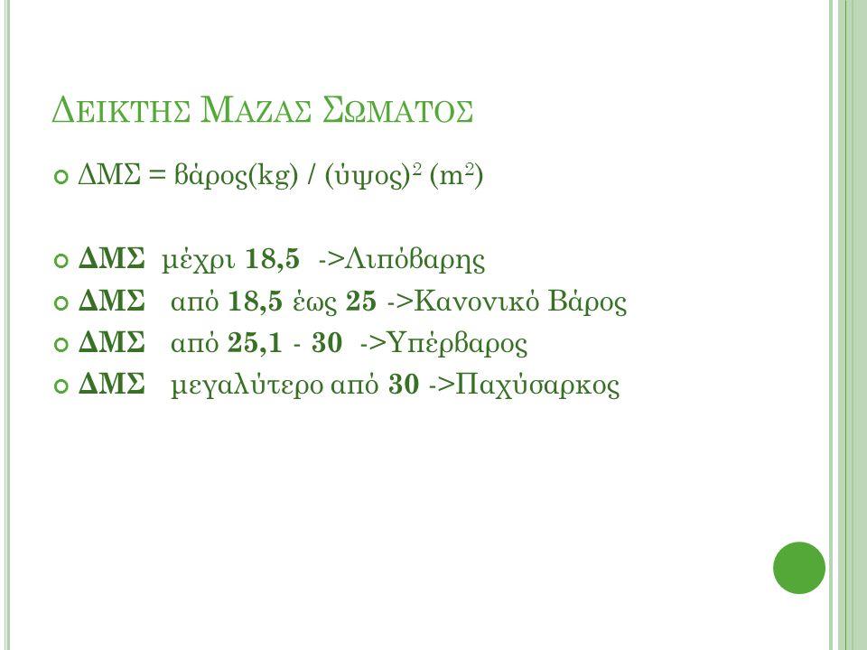 Δ ΕΙΚΤΗΣ Μ ΑΖΑΣ Σ ΩΜΑΤΟΣ ΔΜΣ = βάρος(kg) / (ύψος) 2 (m 2 ) ΔΜΣ μέχρι 18,5 ->Λιπόβαρης ΔΜΣ από 18,5 έως 25 ->Κανονικό Βάρος ΔΜΣ από 25,1 - 30 ->Υπέρβαρος ΔΜΣ μεγαλύτερο από 30 ->Παχύσαρκος