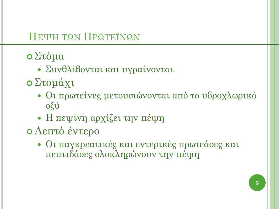 Π ΕΨΗ ΤΩΝ Π ΡΩΤΕΪΝΩΝ Στόμα Συνθλίβονται και υγραίνονται Στομάχι Οι πρωτείνες μετουσιώνονται από το υδροχλωρικό οξύ Η πεψίνη αρχίζει την πέψη Λεπτό έντερο Οι παγκρεατικές και εντερικές πρωτεάσες και πεπτιδάσες ολοκληρώνουν την πέψη 3