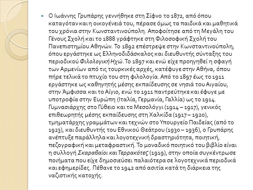 Ο Ιωάννης Γρυπάρης γεννήθηκε στη Σίφνο το 1872, από όπου καταγόταν και η οικογένειά του, πέρασε όμως τα παιδικά και μαθητικά του χρόνια στην Κωνσταντι
