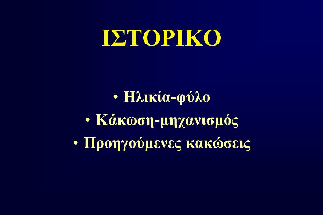 ΙΣΤΟΡΙΚΟ Ηλικία-φύλο Κάκωση-μηχανισμός Προηγούμενες κακώσεις