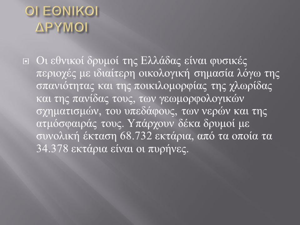  Οι εθνικοί δρυμοί της Ελλάδας είναι φυσικές περιοχές με ιδιαίτερη οικολογική σημασία λόγω της σπανιότητας και της ποικιλομορφίας της χλωρίδας και τη