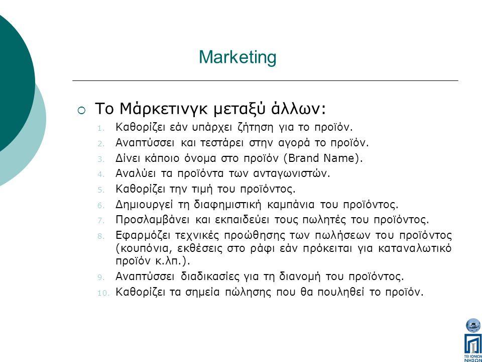Marketing  Το Μάρκετινγκ μεταξύ άλλων: 1. Καθορίζει εάν υπάρχει ζήτηση για το προϊόν.