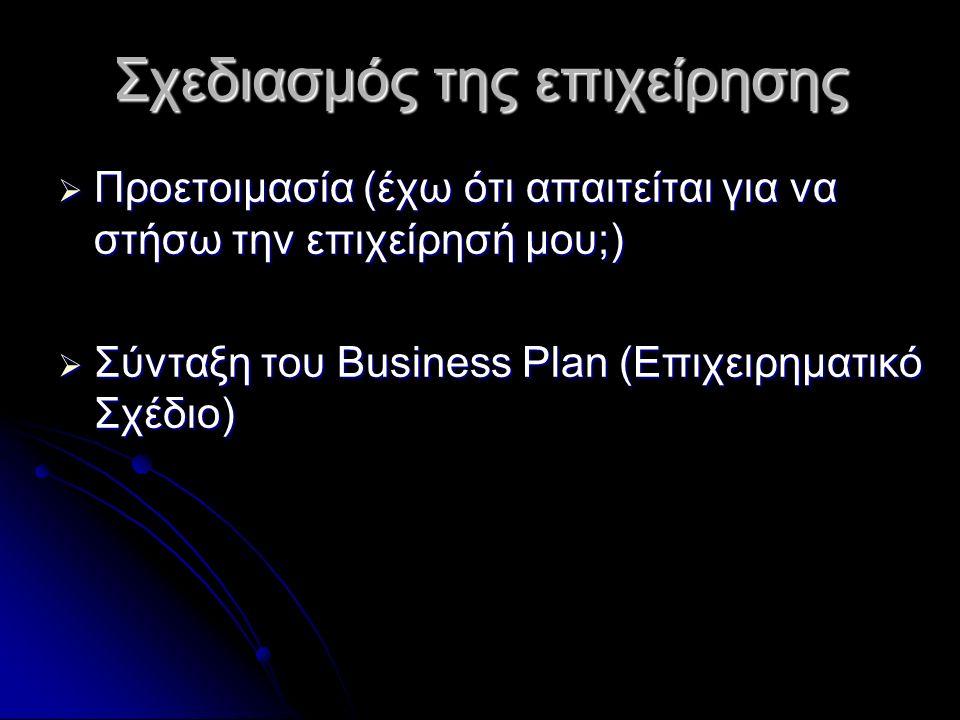 Σχεδιασμός της επιχείρησης  Προετοιμασία (έχω ότι απαιτείται για να στήσω την επιχείρησή μου;)  Σύνταξη του Business Plan (Επιχειρηματικό Σχέδιο)