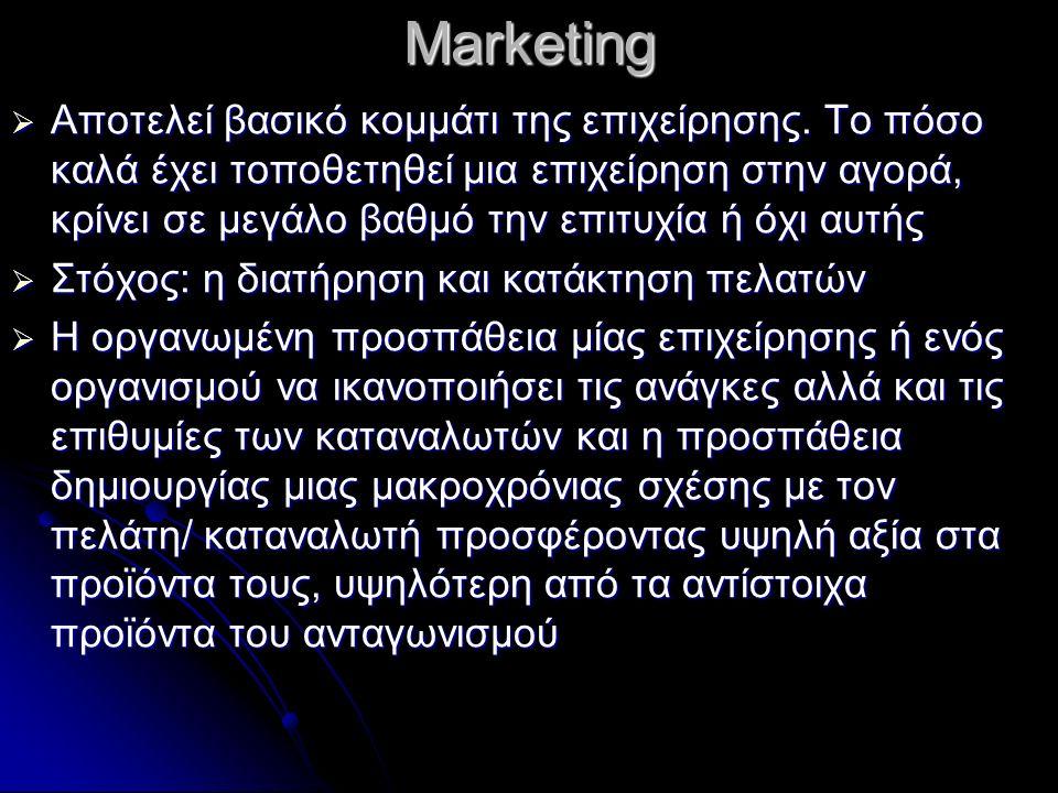 Marketing  Αποτελεί βασικό κομμάτι της επιχείρησης.