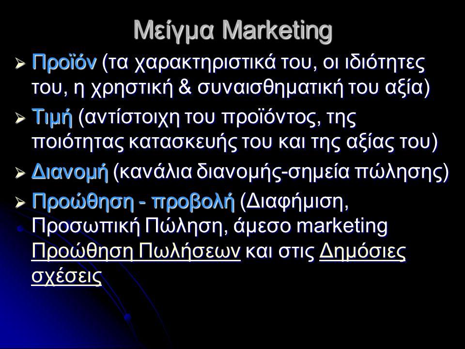 Μείγμα Marketing  Προϊόν (τα χαρακτηριστικά του, οι ιδιότητες του, η χρηστική & συναισθηματική του αξία)  Τιμή (αντίστοιχη του προϊόντος, της ποιότητας κατασκευής του και της αξίας του)  Διανομή (κανάλια διανομής-σημεία πώλησης)  Προώθηση - προβολή (Διαφήμιση, Προσωπική Πώληση, άμεσο marketing Προώθηση Πωλήσεων και στις Δημόσιες σχέσεις Προώθηση ΠωλήσεωνΔημόσιες σχέσεις Προώθηση ΠωλήσεωνΔημόσιες σχέσεις