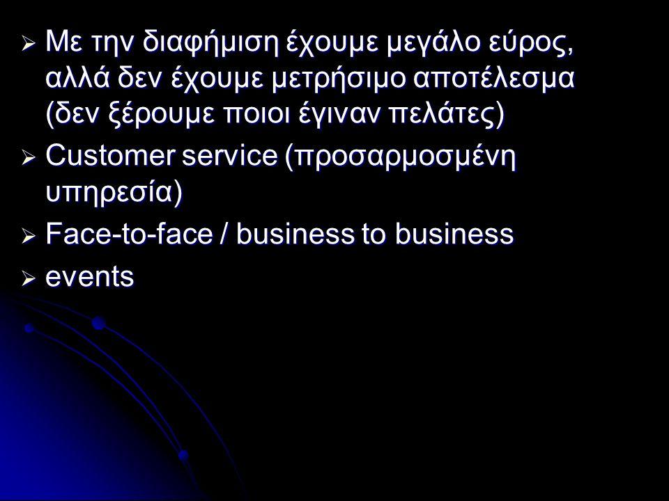  Με την διαφήμιση έχουμε μεγάλο εύρος, αλλά δεν έχουμε μετρήσιμο αποτέλεσμα (δεν ξέρουμε ποιοι έγιναν πελάτες)  Customer service (προσαρμοσμένη υπηρεσία)  Face-to-face / business to business  events