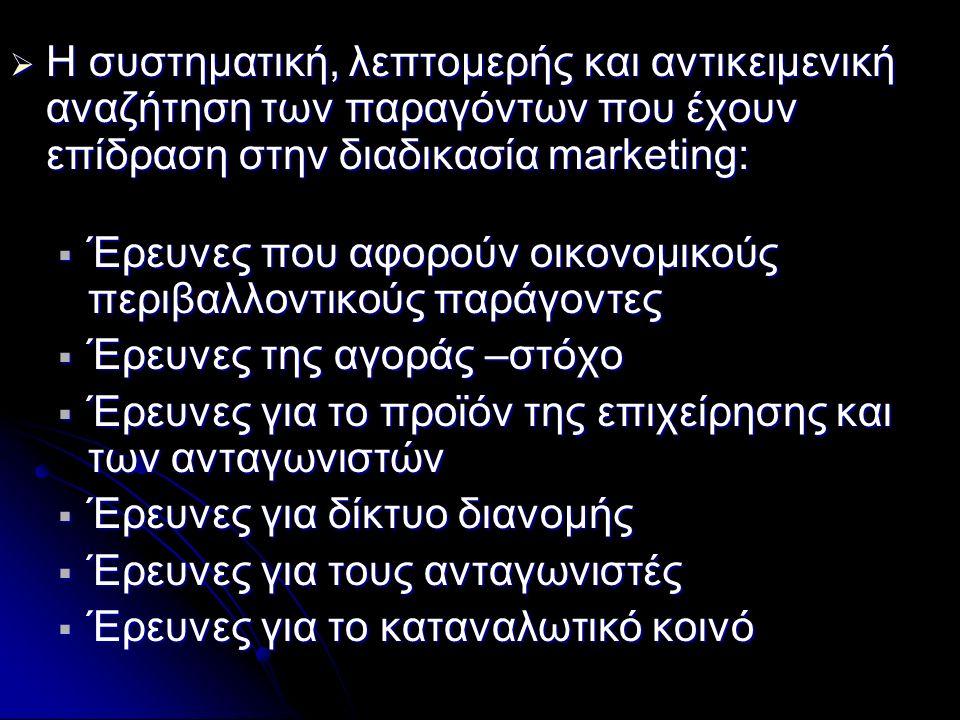  Η συστηματική, λεπτομερής και αντικειμενική αναζήτηση των παραγόντων που έχουν επίδραση στην διαδικασία marketing:  Έρευνες που αφορούν οικονομικού