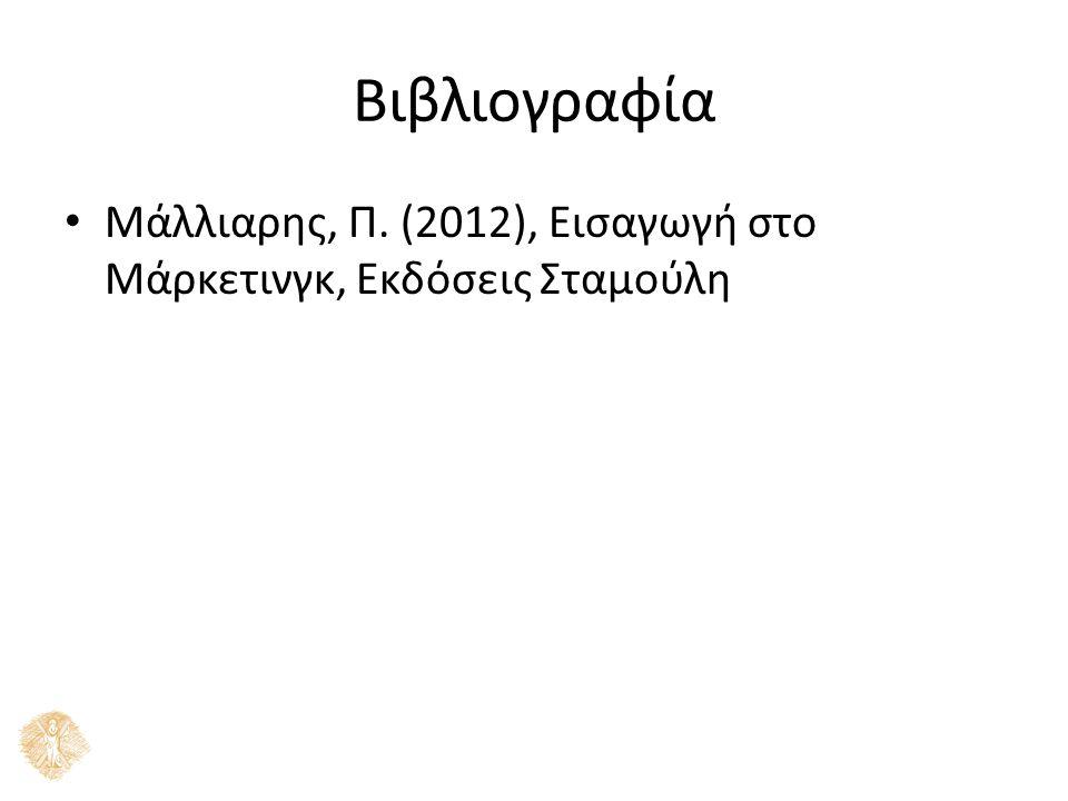 Βιβλιογραφία Μάλλιαρης, Π. (2012), Εισαγωγή στο Μάρκετινγκ, Εκδόσεις Σταμούλη