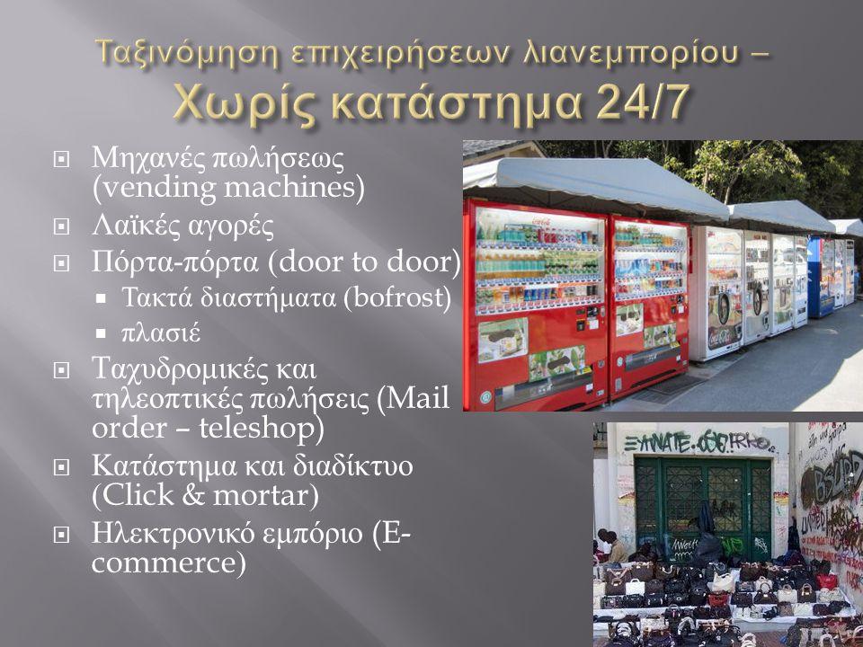  Μηχανές πωλήσεως (vending machines)  Λαϊκές αγορές  Πόρτα - πόρτα (door to door)  Τακτά διαστήματα (bofrost)  πλασιέ  T αχυδρομικές και τηλεοπτικές πωλήσεις (Mail order – teleshop)  Κατάστημα και διαδίκτυο (Click & mortar)  Ηλεκτρονικό εμπόριο (E- commerce)