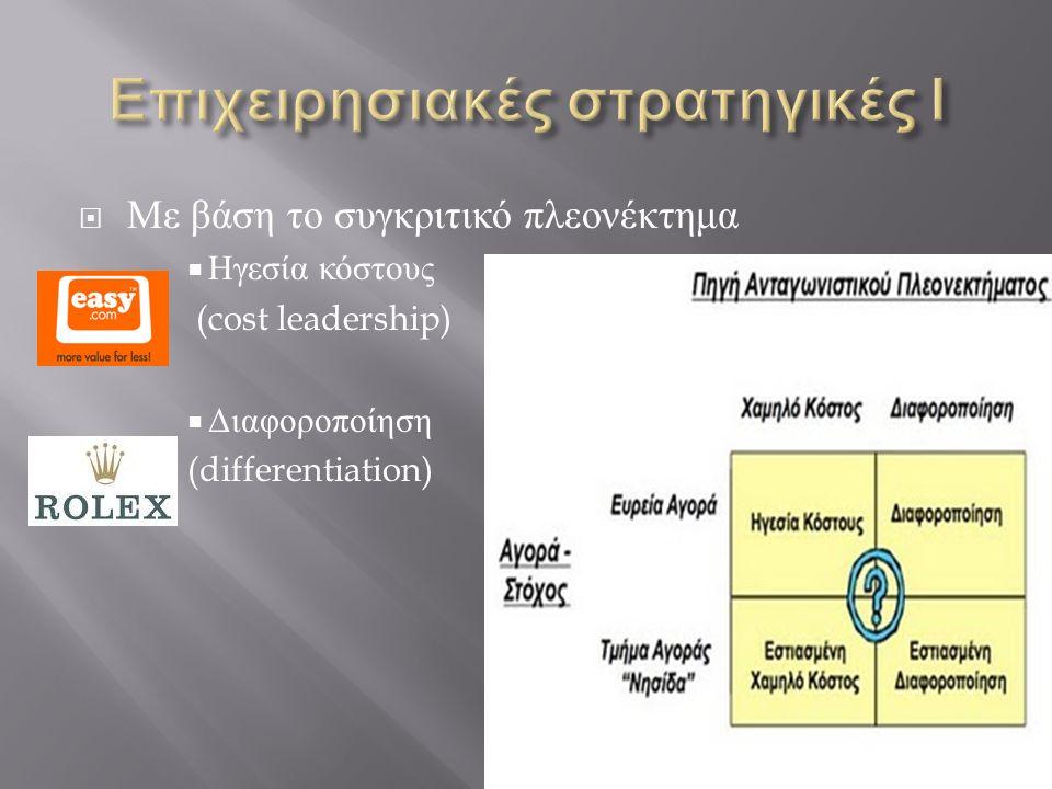 Με βάση το συγκριτικό πλεονέκτημα  Ηγεσία κόστους (cost leadership)  Διαφοροποίηση (differentiation)