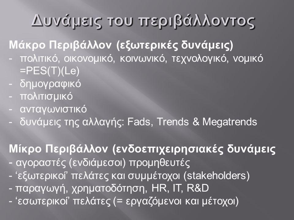 Δυνάμεις του περιβάλλοντος Μάκρο Περιβάλλον (εξωτερικές δυνάμεις) -πολιτικό, οικονομικό, κοινωνικό, τεχνολογικό, νομικό =PES(T)(Le) -δημογραφικό -πολιτισμικό -ανταγωνιστικό -δυνάμεις της αλλαγής: Fads, Trends & Megatrends Μίκρο Περιβάλλον (ενδοεπιχειρησιακές δυνάμεις - αγοραστές (ενδιάμεσοι) προμηθευτές - 'εξωτερικοί' πελάτες και συμμέτοχοι (stakeholders) - παραγωγή, χρηματοδότηση, HR, IT, R&D - 'εσωτερικοί' πελάτες (= εργαζόμενοι και μέτοχοι)