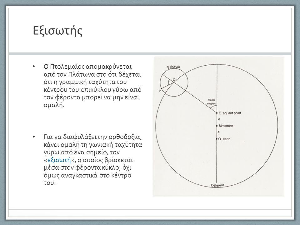 Εξισωτής Ο Πτολεμαίος απομακρύνεται από τον Πλάτωνα στο ότι δέχεται ότι η γραμμική ταχύτητα του κέντρου του επικύκλου γύρω από τον φέροντα μπορεί να μ