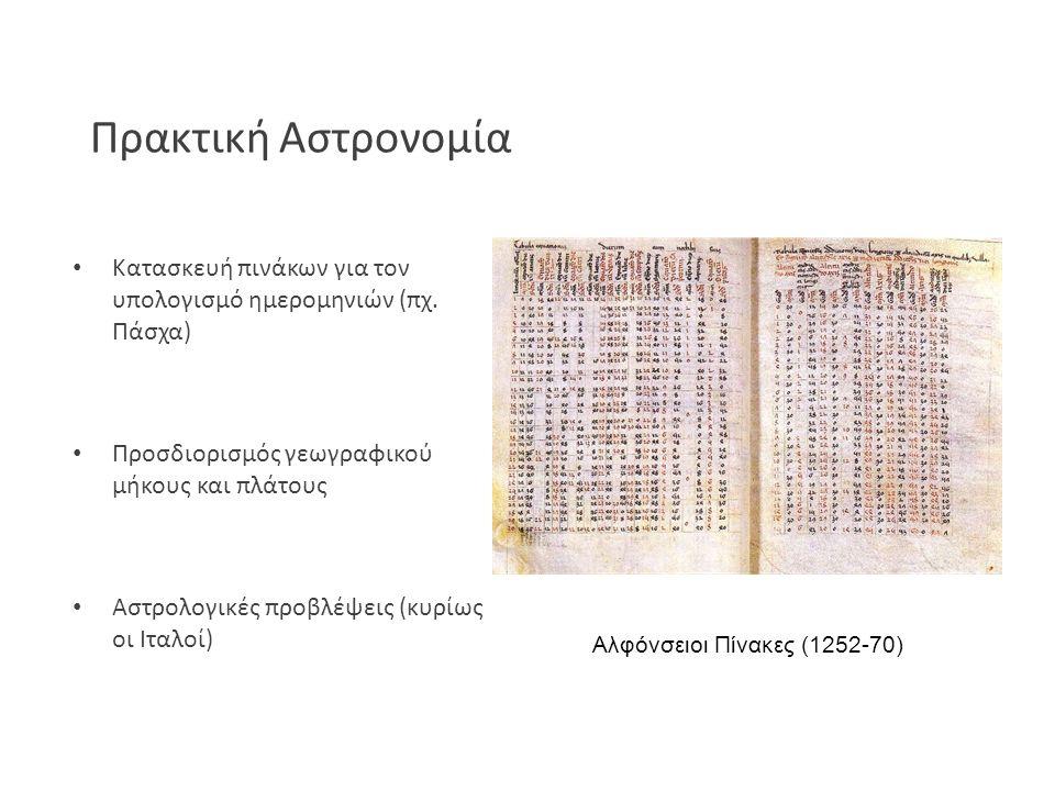 Πρακτική Αστρονομία Κατασκευή πινάκων για τον υπολογισμό ημερομηνιών (πχ. Πάσχα) Προσδιορισμός γεωγραφικού μήκους και πλάτους Αστρολογικές προβλέψεις