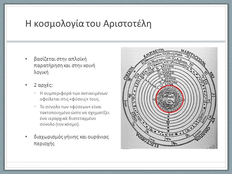 Η κοσμολογία του Αριστοτέλη βασίζεται στην απλοϊκή παρατήρηση και στην κοινή λογική 2 αρχές: Η συμπεριφορά των αντικειμένων οφείλεται στις «φύσεις» τους.