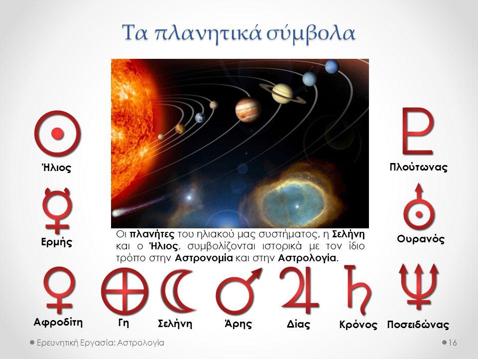 Τα πλανητικά σύμβολα Ερευνητική Εργασία: Αστρολογία Ήλιος Ερμής Αφροδίτη Γη Άρης Δίας Κρόνος Ποσειδώνας Ουρανός Πλούτωνας 16 Σελήνη Οι πλανήτες του ηλιακού μας συστήματος, η Σελήνη και ο Ήλιος, συμβολίζονται ιστορικά με τον ίδιο τρόπο στην Αστρονομία και στην Αστρολογία.