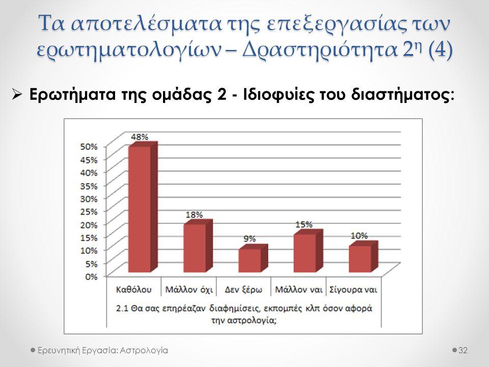 Τα αποτελέσματα της επεξεργασίας των ερωτηματολογίων – Δραστηριότητα 2 η (4) Ερευνητική Εργασία: Αστρολογία  Ερωτήματα της ομάδας 2 - Ιδιοφυίες του δ