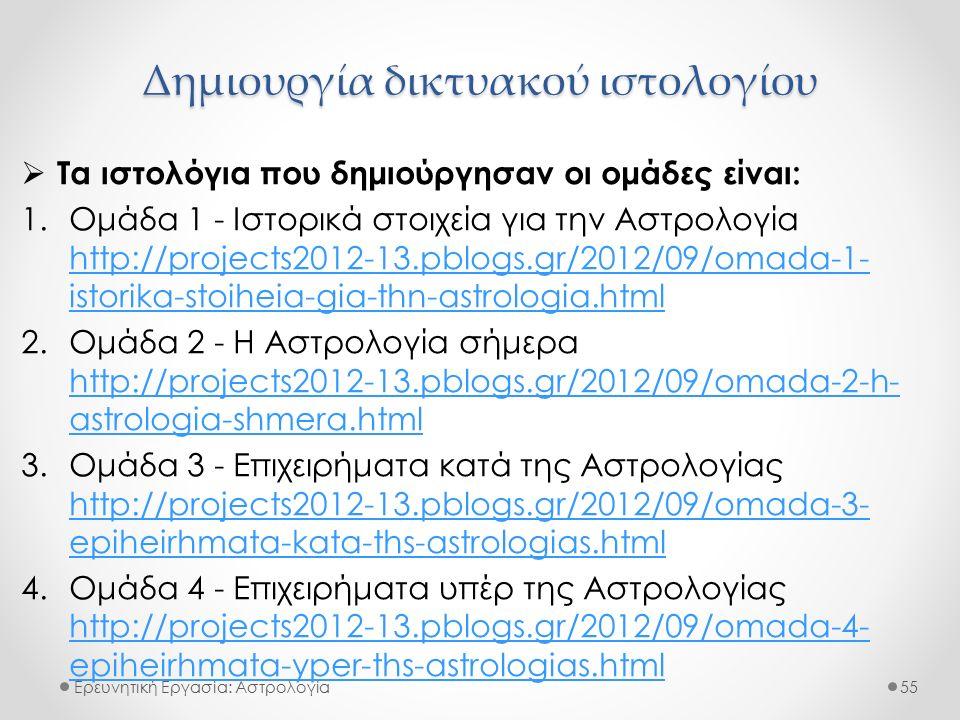 Ερευνητική Εργασία: Αστρολογία  Τα ιστολόγια που δημιούργησαν οι ομάδες είναι: 1.Ομάδα 1 - Ιστορικά στοιχεία για την Αστρολογία http://projects2012-13.pblogs.gr/2012/09/omada-1- istorika-stoiheia-gia-thn-astrologia.html http://projects2012-13.pblogs.gr/2012/09/omada-1- istorika-stoiheia-gia-thn-astrologia.html 2.Ομάδα 2 - Η Αστρολογία σήμερα http://projects2012-13.pblogs.gr/2012/09/omada-2-h- astrologia-shmera.html http://projects2012-13.pblogs.gr/2012/09/omada-2-h- astrologia-shmera.html 3.Ομάδα 3 - Επιχειρήματα κατά της Αστρολογίας http://projects2012-13.pblogs.gr/2012/09/omada-3- epiheirhmata-kata-ths-astrologias.html http://projects2012-13.pblogs.gr/2012/09/omada-3- epiheirhmata-kata-ths-astrologias.html 4.Ομάδα 4 - Επιχειρήματα υπέρ της Αστρολογίας http://projects2012-13.pblogs.gr/2012/09/omada-4- epiheirhmata-yper-ths-astrologias.html http://projects2012-13.pblogs.gr/2012/09/omada-4- epiheirhmata-yper-ths-astrologias.html 55 Δημιουργία δικτυακού ιστολογίου
