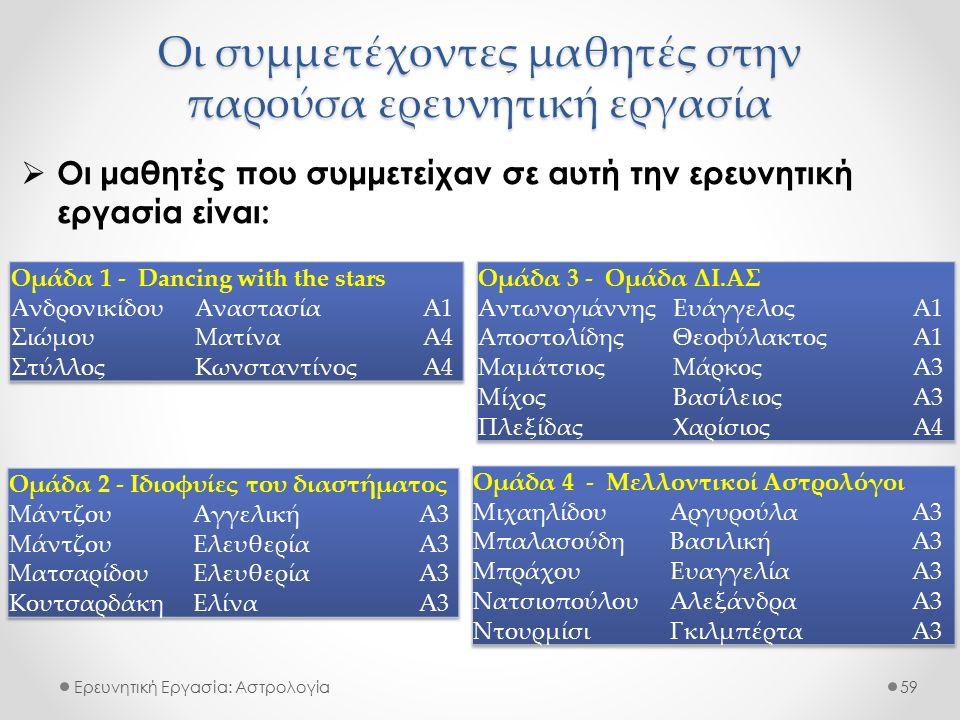 Ερευνητική Εργασία: Αστρολογία  Οι μαθητές που συμμετείχαν σε αυτή την ερευνητική εργασία είναι: 59 Οι συμμετέχοντες μαθητές στην παρούσα ερευνητική εργασία