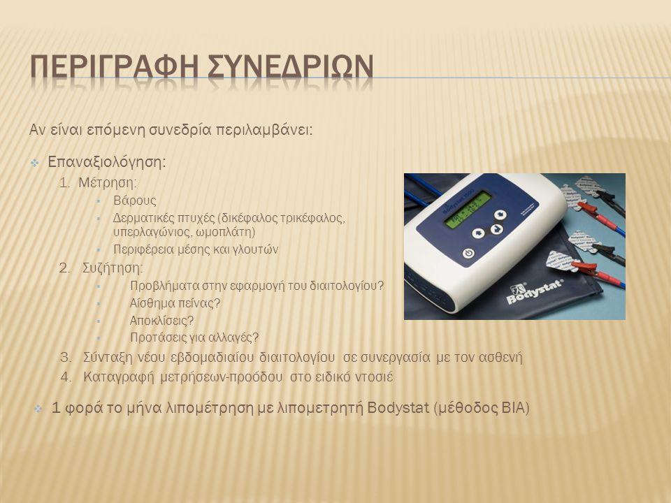  Παρακολούθηση όλης της συνεδρίας  Μέτρηση βάρους, ύψους  Μέτρηση περιφερειών (μέσης, γλουτών, καρπού)  Μέτρηση δερματικών πτυχών (δικεφάλου, τρικεφάλου, υπερλαγωνίου, ωμοπλάτης)  Λιπομέτρηση  Επεξήγηση της σημασίας κάθε μέτρησης στον ασθενή (1 ο ραντεβού)  Δημιουργία άρθρου με θέμα «Η διατροφή μας τις μέρες του Πάσχα»  Αρχειοθέτηση και οργάνωση γραφείου Συνήθως υπό την επίβλεψη της διαιτολόγου
