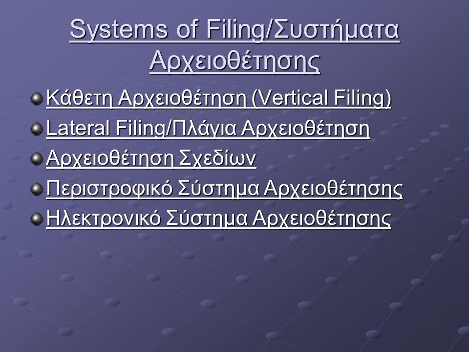 Systems of Filing/Συστήματα Αρχειοθέτησης Κάθετη Αρχειοθέτηση (Vertical Filing) Lateral Filing/Πλάγια Αρχειοθέτηση Αρχειοθέτηση Σχεδίων Περιστροφικό Σύστημα Αρχειοθέτησης Ηλεκτρονικό Σύστημα Αρχειοθέτησης