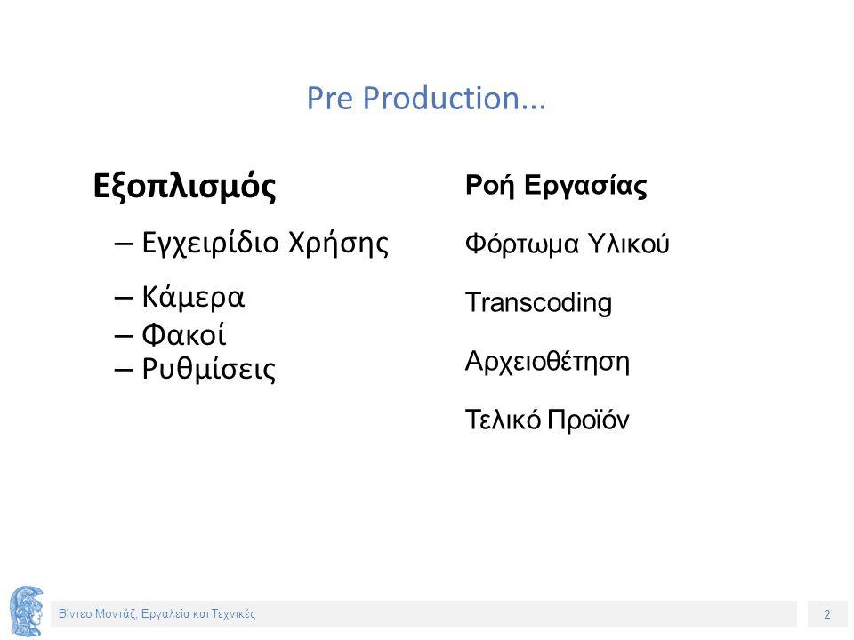 2 Βίντεο Μοντάζ, Εργαλεία και Τεχνικές Pre Production...
