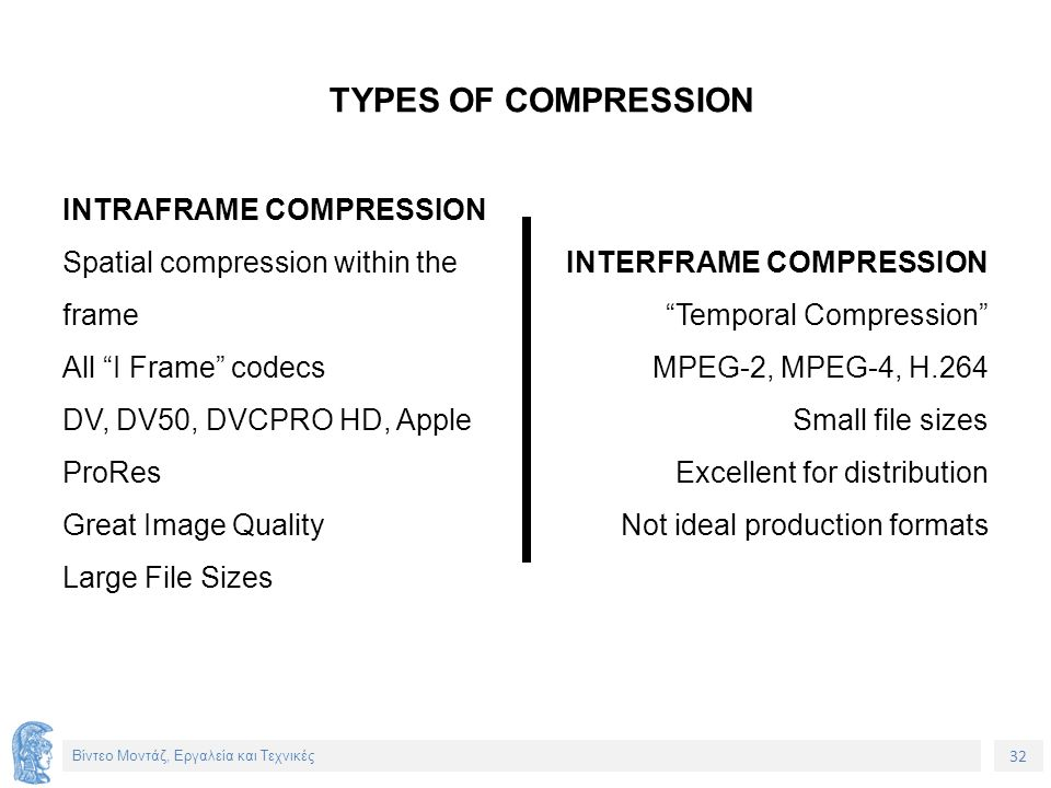 32 Βίντεο Μοντάζ, Εργαλεία και Τεχνικές INTRAFRAME COMPRESSION Spatial compression within the frame All I Frame codecs DV, DV50, DVCPRO HD, Apple ProRes Great Image Quality Large File Sizes INTERFRAME COMPRESSION Temporal Compression MPEG-2, MPEG-4, H.264 Small file sizes Excellent for distribution Not ideal production formats TYPES OF COMPRESSION