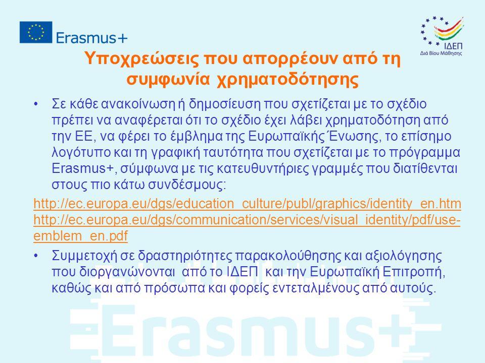 Υποχρεώσεις που απορρέουν από τη συμφωνία χρηματοδότησης Σε κάθε ανακοίνωση ή δημοσίευση που σχετίζεται με το σχέδιο πρέπει να αναφέρεται ότι το σχέδιο έχει λάβει χρηματοδότηση από την ΕΕ, να φέρει το έμβλημα της Ευρωπαϊκής Ένωσης, το επίσημο λογότυπο και τη γραφική ταυτότητα που σχετίζεται με το πρόγραμμα Erasmus+, σύμφωνα με τις κατευθυντήριες γραμμές που διατίθενται στους πιο κάτω συνδέσμους: http://ec.europa.eu/dgs/education_culture/publ/graphics/identity_en.htm http://ec.europa.eu/dgs/communication/services/visual_identity/pdf/use- emblem_en.pdf Συμμετοχή σε δραστηριότητες παρακολούθησης και αξιολόγησης που διοργανώνονται από το ΙΔΕΠ και την Ευρωπαϊκή Επιτροπή, καθώς και από πρόσωπα και φορείς εντεταλμένους από αυτούς.