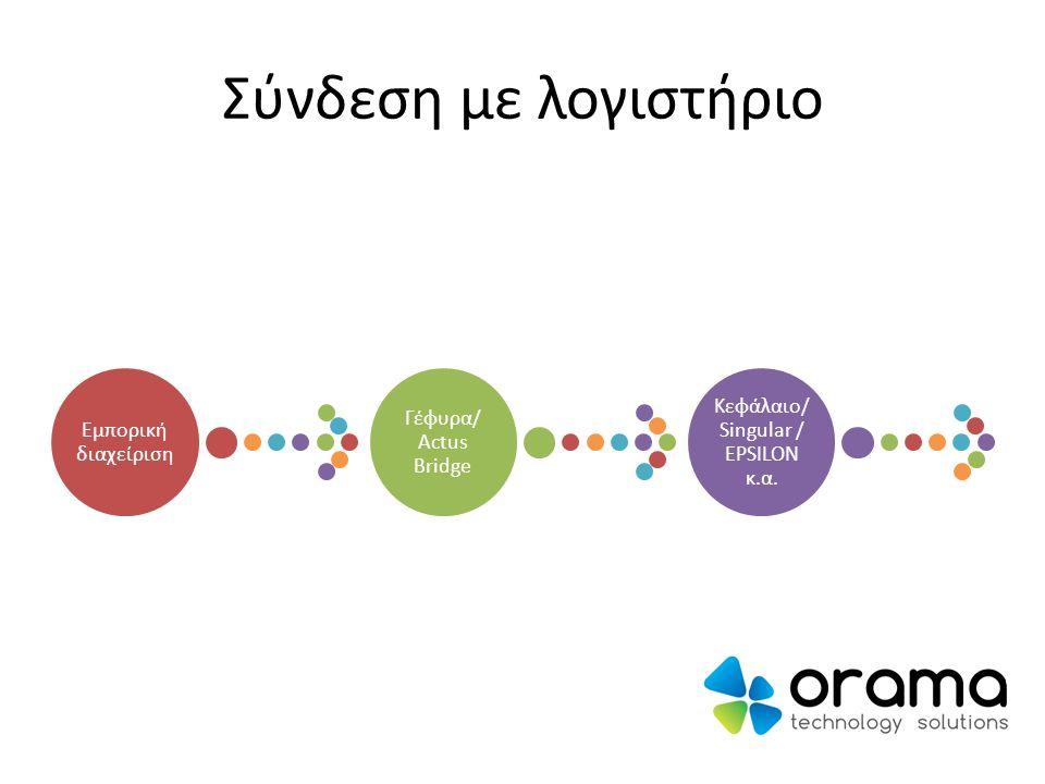 Σύνδεση με λογιστήριο Εμπορική διαχείριση Γέφυρα/ Actus Bridge Κεφάλαιο/ Singular / EPSILON κ.α.