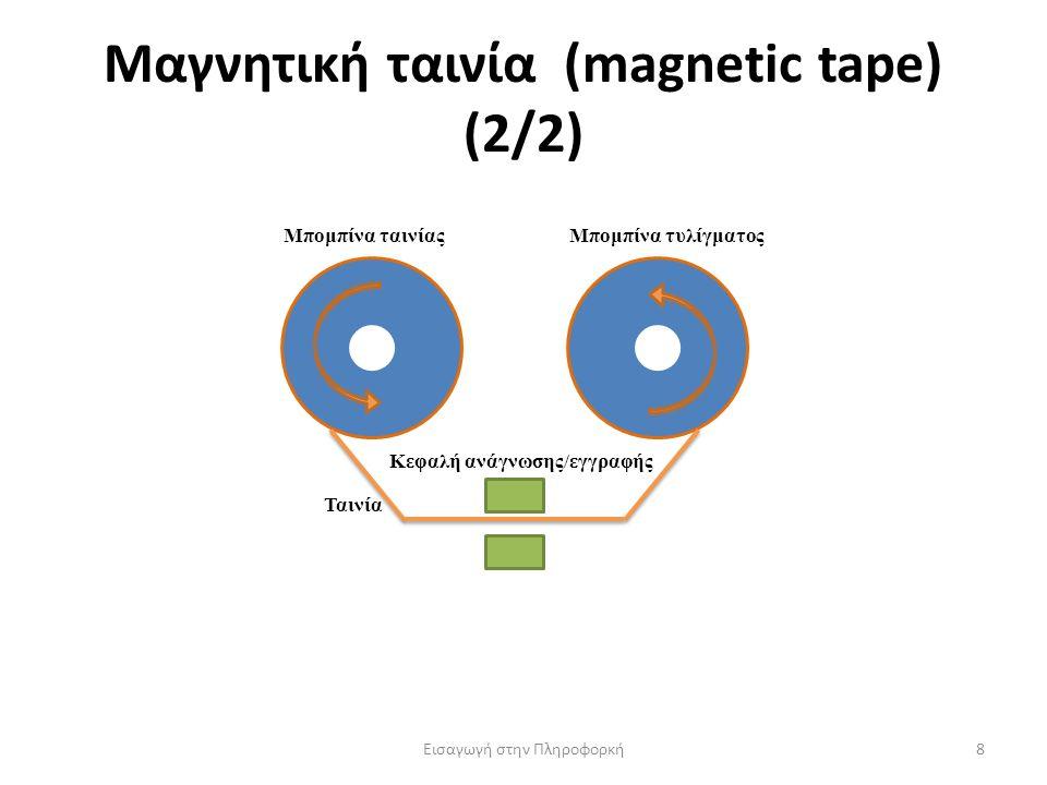 Μαγνητική ταινία (magnetic tape) (2/2) Εισαγωγή στην Πληροφορκή8 Μπομπίνα ταινίαςΜπομπίνα τυλίγματος Κεφαλή ανάγνωσης/εγγραφής Ταινία