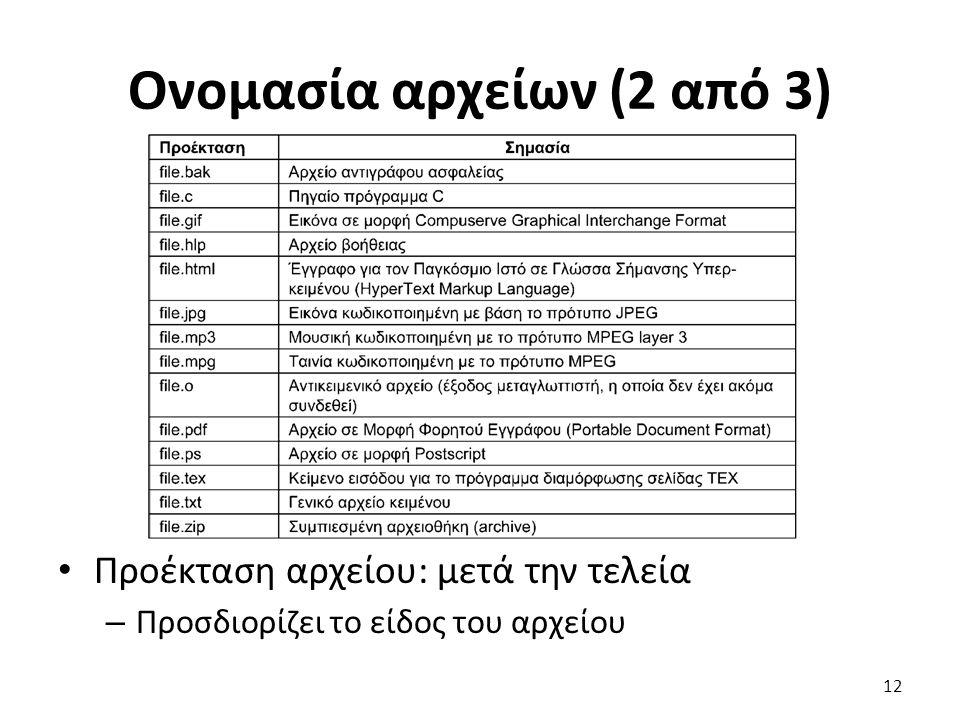 Ονομασία αρχείων (2 από 3) Προέκταση αρχείου: μετά την τελεία – Προσδιορίζει το είδος του αρχείου 12