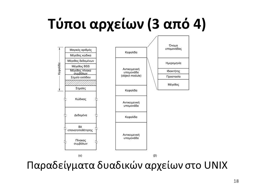 Τύποι αρχείων (3 από 4) Παραδείγματα δυαδικών αρχείων στο UNIX 18