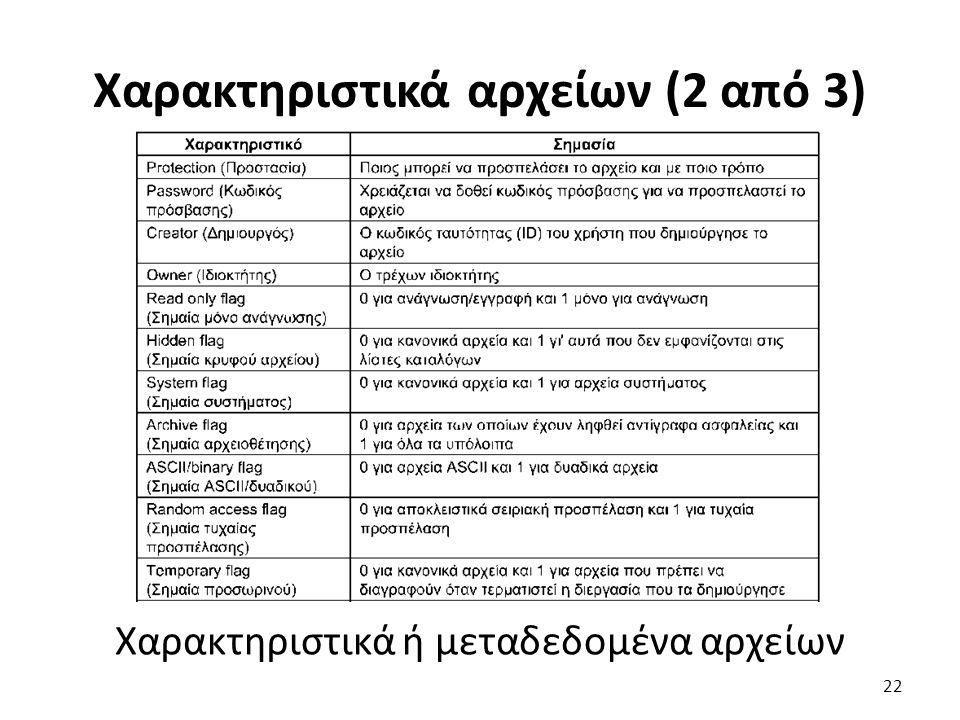 Χαρακτηριστικά αρχείων (2 από 3) Χαρακτηριστικά ή μεταδεδομένα αρχείων 22