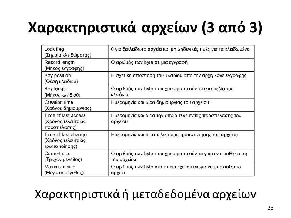Χαρακτηριστικά αρχείων (3 από 3) Χαρακτηριστικά ή μεταδεδομένα αρχείων 23